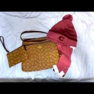 Coach Large Crossbody, Wristlet plus Hat & Gloves